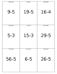 Subtraction Flashcards With Letter Home Hundreds Chart And Touch Math Chart