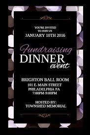 Fundraising Dinner Event Poster Flyer Social Media Custom