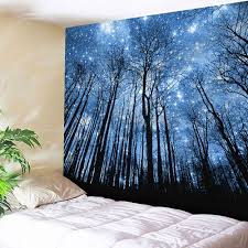 wall hanging forest pattern tapestry blue w79 inch l59 inch