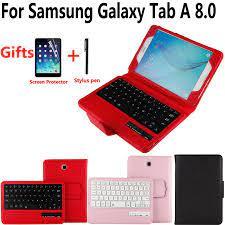 Ayrılabilir kablosuz Bluetooth klavye kılıf kapak Samsung Galaxy Tab için  bir 8.0 SM T350 T350 T355 P350 ekran koruyucu Film ile kalem|Tablets &  e-Books Case
