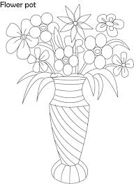 Flower pot coloring printable page for kids 5