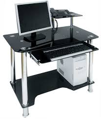 home office desk black. Glass Office Desk Ideas Using Rectangular Black Computer Combined With Chrome Metal Stands Home E