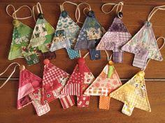 Easy Holiday Ornaments made from fabric scraps | Ornament ... & rainbow of trees - quilted Christmas tree ornaments with buttons Adamdwight.com