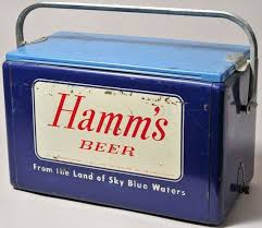 antique hamms beer cooler aluminum steel