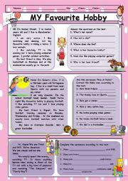 english worksheets my favourite hobby reading comprehension english worksheet my favourite hobby reading comprehension