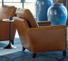 tyler leather armchair pottery barn chestnut leather chair
