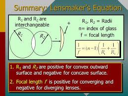 summary lensmaker s equation