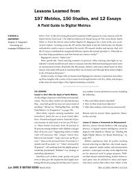 lessons learned from metrics studies and essays the pdf extract preview
