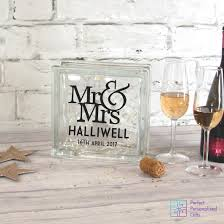 personalised mr mrs wedding led glass block