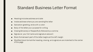 Business Letters Standard Business Letter Format Heading