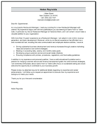Sample Restaurant Management Cover Letter Restaurant Manager Cover ...