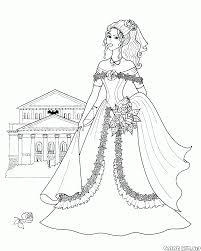 Disegni Da Colorare Principessa Con Un Mazzo Di Fiori