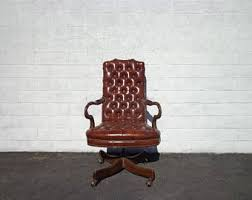 office chair vintage. traditional office chair chesterfield leather armchair task tufted wood mid century modern mcm vintage casters seating 1