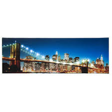 >led lighted brooklyn bridge new york city skyline light up canvas  image is loading led lighted brooklyn bridge new york city skyline