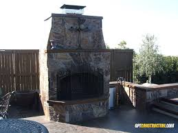 this 5 wide 8 tall el dorado hills outdoor fireplace features a poured concrete hearth mantle and chimney cap all with a full natural