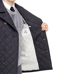 Brooks brothers Quilted Pea Coat in Blue for Men | Lyst & Gallery Adamdwight.com