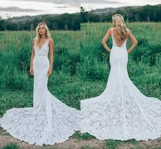 2017 romantic boho elegant backless lace wedding dresses v neck