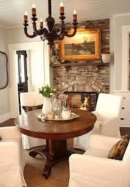 brick fireplace love dining room