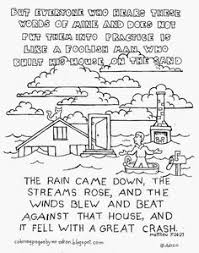 Small Picture Printable Coloring Page House on Rock and Sand Sheet Parables