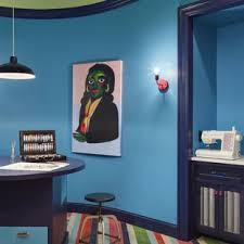 eclectic home office. Eclectic Freestanding Desk Craft Room Photo In Minneapolis With Blue Walls Eclectic Home Office E