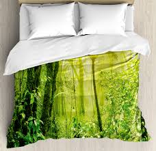 green duvet cover set tropical wildlife nature forest with branches and tree art decorative bedding set with pillow shams pale green and forest
