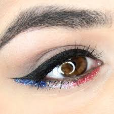 makeup for fourth of july red white blue sparkles slashed beauty