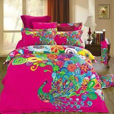 chinese style colorful pea hot pink bedding set 100 cotton duvet cover set pillow case bed sheets for full queen size beds in bedding sets from home