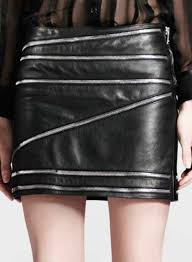zig zag zipper leather skirt 448