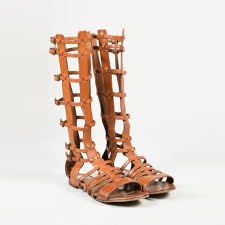 details about saint lau brown leather gladiator sandals sz 36