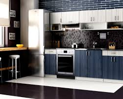 design your own kitchen using grey and blue strip theril kitchen cabinet with black granite