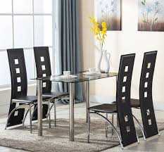 amazon eight24hours 5 piece gl dining table set 4 leather chairs kitchen room breakfast furniture table chair sets