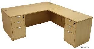 maple l shaped rectangular executive desk w 6 drawers