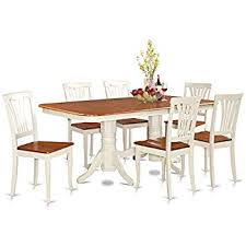 east west furniture naav7 whi w 7 piece dining table set