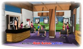 new item for this month role play hair salon 3 reception counter receptionist animation poses 4 cash register for reception 5 3 chairs for hair wash cut
