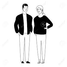 Couple Avatar Cartoon Character With Fashion Casual Clothes