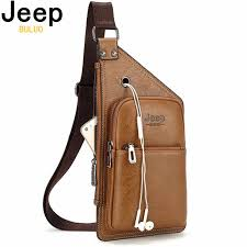 <b>JEEP BULUO Brand Men</b> Sling Bags 2Pcs/Set Leather Chest Bag ...