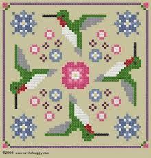 Free Biscornu Charts Cross Stitch Happy Hummingbird Biscornu Needle Case
