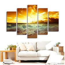 5 Panel Golden Sunset Seaside Malerei Wandkunst Leinwand Wandbilder Für Schlafzimmer Wohnkultur Ungerahmt