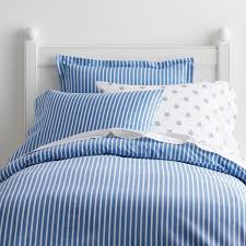 company kids by the company aiden stripe cotton percale pacific blue twin duvet cover