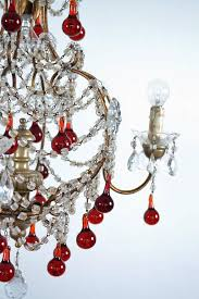 italian murano red glass drops chandelier 1950s with four lights for 3