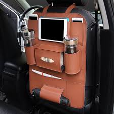 multi functional pu leather car back seat storage bag multi pocket phone cup holder organizer
