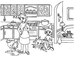 Small Picture My Mother Moping Kitchen Floor Coloring Pages Download Print