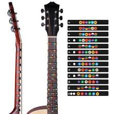 Details About 2 Pc Electric And Acoustic Guitar Chord Chart Note Sticker For Beginner Practice