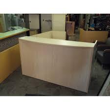 blonde reception desk w bow front transaction counter bow front reception counter office