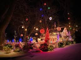 xmas lighting decorations. the holiday spirit takes on form of bright orbs in this stunning front yard spectacle xmas lighting decorations