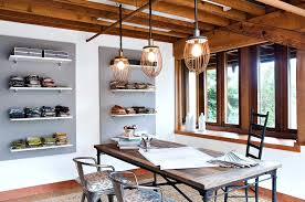 romantic decor home office. Rustic Dining Table Plus Metal Chairs Feat Unique Track Lighting Fixtures And Hanging Bookshelf Idea Romantic Decor Home Office E