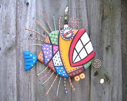 mosaic fish made to order original found object sculpture wall art wood on wood carved fish wall art with mosaic fish made to order original found object sculpture wall