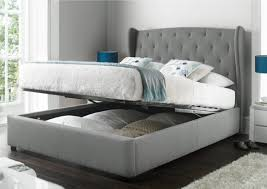Beds, Upholstered Bed With Storage Bed With Storage Underneath Small Gray  Headboard Flower Patter Pillow ...