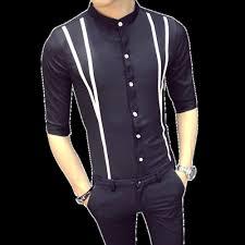 Half Shirt Design Image 2019 2018 Casual Shirts Men Designer Fashion Half Sleeve Solid Geometric Lines Shirt Man Slim Fit Shirt Male Clothing Plus Size S 5xl From Macloth