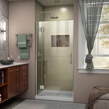 dreamline unidoor x 34 in x 72 in frameless hinged shower door in
